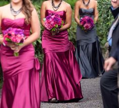 Bridesmaid dresses: Mulberry pink, Maid of honor in pewter grey
