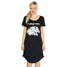 "ThinkGeek :: I love you / I know Sleep Shirt. The ""i Know"" part glows in the dark on the Falcon!!!!!!!!!!!!!"