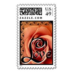 ORANGE Rose LOVE Wedding Lace Accent Postage Stamps