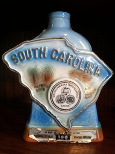 Vintage Jim Beam Bourbon Bottle, South Carolina Tricentennial (1670-1970) -- [Pinned from the Google image cache, as the item is no longer available on the etsy site.]