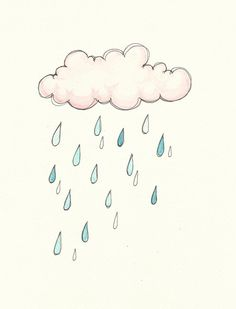 Little Pink Rain Cloud Watercolour Painting  by FeatherAndSixpence, £12.00