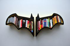 Bookshelf with Batman Bat-Shaped | FeelHomy.Com (i need this in my room so badly its just awesome.)