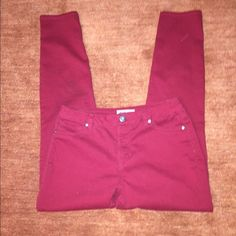 Red skinny jeans/pants These are stretchy & soft and probably the most comfortable pants ever. Color is true red. They are almost like jeggings. Worn couple times but in great condition Jeans Skinny