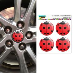 Size: diameterSet of four UV resistant domed urethane stickers as shown. These can be used as wheel center badges or just about anywhere. Miraculous, 3d Sticker, Pink Wheels, Ladybug Crafts, Purple Owl, Bugs And Insects, Pink Dog, African Elephant, Round Stickers