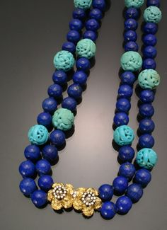 Matinee Length Lapis Lazuli, Turquoise and Diamond Necklace, Knotted Jewelry, Coins & Watches - Sale 1292 - Lot 136 - ADAM A. WESCHLER & SON, INC : AUCTIONEERS AND APPRAISERS - SINCE 1890