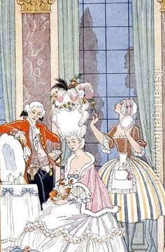 Handmade oil painting reproduction of Georges Barbier France in the 18th Century - on canvas and available in any size or choose another work from more than 250,000 different oil paintings and 25,000 artists. The highest quality paintings and great customer service!