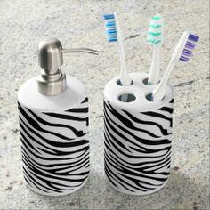 Zebra Pattern Bath Set