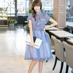 Милуоки Большой размер шифон женские платья мода стиль с отложным воротником полосатый с коротким рукавом мяч женщин рубашка