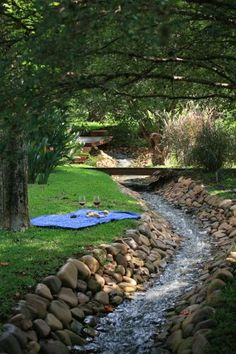 Water Features Can Transform Your Backyard Backyard Stream, Ponds Backyard, Backyard Landscaping, Drainage Ditch, Garden Waterfall, Dry Creek, Landscaping With Rocks, Water Garden, Water Features
