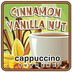 Cinnamon Vanilla Nut Instant Cappuccino Mix Instant Coffee, Cinnamon, Vanilla, Tableware, Canela, Dinnerware, Tablewares, Dishes, Place Settings