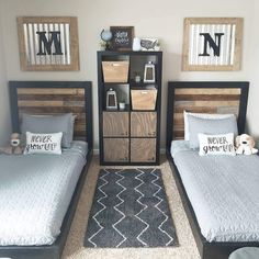 How to Build an Easy Twin Headboard and Platform Bed DIY – Boy Room 2020 Shared Boys Rooms, Kids Bedroom Boys, Boys Bedroom Decor, Twin Bedroom Ideas, Twin Bed Room, Ideas For Boys Bedrooms, Shared Bedrooms, Boys Room Ideas, Diy Bedroom