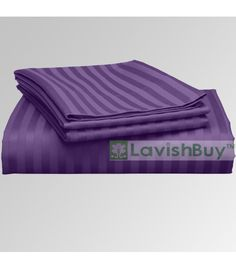 Purple Stripe 1000-TC Egyptian Cotton Bedding Fitted Sheet