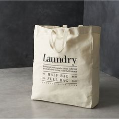 Canvas Laundry Bag - Laundry bag idea - write instructions and if they are whites, colour or darks