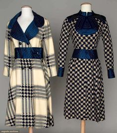 Augusta Auctions: ronald amey dress & coat set, 1960s. White & royal blue wool plaid, blue channel quilted accents.   #Vintage #clothing