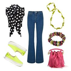 RO STYLE // How to wear flared jeans: we love the look with a blouse (tied up or tucked in), platform slip ons and #colourmad accessories!  Shop the Du Jour Jewels now: www.rubyolive.com.au #rubyolive #rostyle