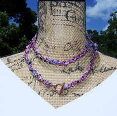 #Artisan Necklace - Colorful Unique Design Jewelry - Purple, Pink, Blue, Black, Copper Beaded Woven Necklace #gift #Christmas #shopping #xmas #jewelry