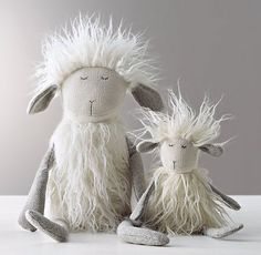 Restoration Hardware Baby & Child's Wooly Plush Lamb:A fine furry friend, designed with playful details every child will love, from the floppy legs and arms to the embroidered accents and lots of fun, different textures. Diy Pour Enfants, Restoration Hardware Baby, Diy Y Manualidades, Diy Bebe, Plush Animals, Stuffed Animals, Sock Animals, Soft Sculpture, Handmade Toys
