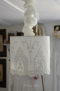 Lampshade cotton embroidery suspension shabby chic and romantic