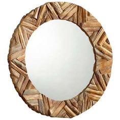 Howard Elliott Collection Orlando Mother of Pearl Round Mirror ...