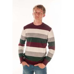 WISE Soft Touch Sweater   Dark red, white, grey, green striped sweater with ruffle around the wrists and at the bottom of sweater, with round neckline. http://akvella.com/men/mens-sweaters?product_id=146