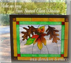 Faux Stained Glass Window from thrift store frame - pattern included!