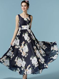 Navy Narcissus Print Ruched Sleeveless Maxi Dress | Choies