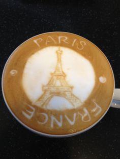 jaihsumie: Eiffel Tower Latte art☕