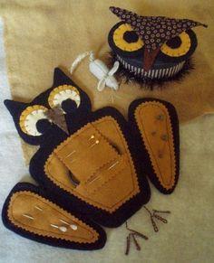 Primitive Halloween Night Owl Needlekeepers E PATTERN by cheswickcompany. $6.95, via Etsy.