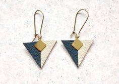 Boucles d'oreilles triangles en cuir bicolore