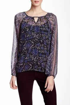 NWT LUCKY BRAND WOMEN'S MULTI FLORAL POLYESTER LONG SLEEVE BLOUSE SZ S-$59.50 #luckybrand #Blouse