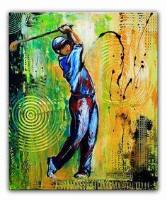 BURGSTALLER ORIGINALGolf Gemälde Bild Golfer Golfspieler Malerei Turnierpreis 65