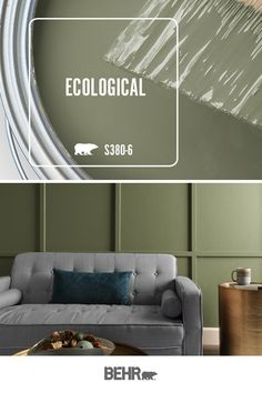 Add a nature-inspired look to the interior design of your home with BEHR® Paint in Ecological.  Featured here in this earth-tone living room, Ecological makes a beautiful addition to this paneled accent wall. Click below for full color details to learn more.
