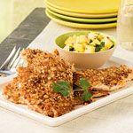 Peanut-Crusted Chicken with Pineapple Salsa Recipe | MyRecipes.com