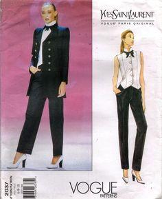 2037 Vogue Sewing Pattern Paris Original Yves Saint Laurent  Jacket Vest Pants #VoguePatterns #1997