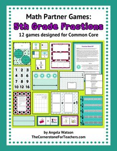 5th Grade Fractions Games: math partner games for Common Core. Includes: fractions on a number line; equivalent fractions; common denominators; adding and subtracting fractions with unlike denominators; mixed numbers; improper fractions; simplifying fractions; multiplying fractions and mixed numbers times whole numbers; area of a rectangle with fractional side lengths; dividing a whole number by a fraction and a fraction by a whole number; word problems; and more!