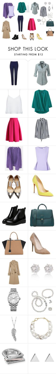 """Капсула для работы"" by knv9077 on Polyvore featuring мода, Topshop, LE3NO, Alice + Olivia, Chicwish, Mulberry, Diane Von Furstenberg, Jimmy Choo, Christian Louboutin и WithChic"