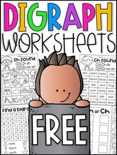 Digraph Worksheets - ch, th, sh Free digraph worksheets. Your students will have so much fun completing these digraph worksheets for ch, sh and th. The mini packet features 4 worksheets which will allow your students to practice digraph sounds. Teaching Phonics, Phonics Activities, Teaching Resources, Word Work Activities, English Activities, Free Activities, Teaching Strategies, Reading Activities, Kindergarten Reading