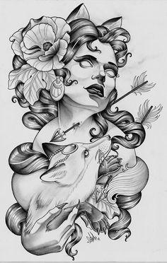 Woman   Pfeil   durchbohrt   durchbohren   durchgebohrte   erstochen   stechen   Pfeile   Hals  Fuchs   Blumen   Ohren   Haare   Frau   Gesicht   Blume   Blumen Traditional   Frauengesicht   Womanface   Girl   girlface   Tattoo   Tattoovorlage   Vorlage