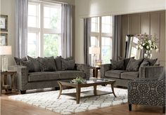 picture of Cindy Crawford Home Sidney Road Gray 5 Pc Living Room  from Living Room Sets Furniture