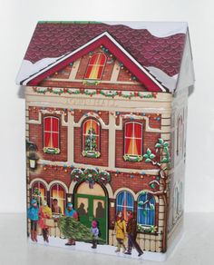 New Town Hall Christmas House Building Embossed Tin Box Container Canister | eBay