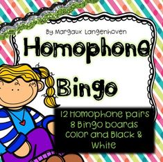 I have compiled this Homophone Bingo game as a reinforcement activity for my class.  Students can play in groups up to 8.This pack includes 8 half page Bingo boards and 24 question cards which require students to identify which homophone is being used in the sentence.