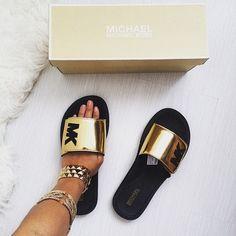 Micheal Kors Slide Sandals Authentic Slide Sandals from MK excellent condition Michael Kors Shoes Sandals Shoe Boots, Shoes Sandals, Shoes Sneakers, Gold Sandals, Slide Sandals, Cute Shoes, Me Too Shoes, Bold Logo, Crazy Shoes