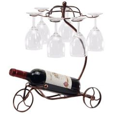 Another wine bottle holder which is come up with a charming tricycle style comes from Mygift. It looks peculiar from the others though the function is not slightly different. However, it is built in fascinating tricycle which can hold one bottle or up to six glasses.