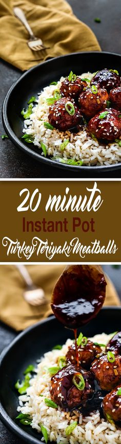 These 20- Minute Instant Pot Teriyaki Turkey Meatballs are perfect when you want a fast, family-friendly meal in a jiffy. These are crazy good and so easy. Serve over your favorite bowl of rice, quinoa, or steam veggies. http://mommyshomecooking.com