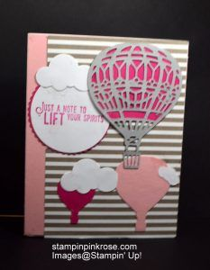 Stampin' Up! Birthday card made with Up, Up and Away stamp set and designed by Demo Pamela Sadler. See more cards at stampinkrose.com #stampinkpinkrose #etsycardstrulyheart