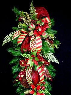 Huge Christmas Teardrop Vertical Swag Wreath 5 ft long red and lime green LuX design by Cabin Cove Creations Must See Christmas Swags, Christmas Door, Deco Mesh Wreaths, Outdoor Christmas, Holiday Wreaths, All Things Christmas, Christmas Holidays, Christmas Decorations, Winter Wreaths