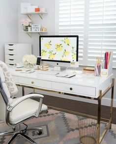 Home Office Decor Inspiration is definitely important for your home. Whether you pick the Office Design Corporate Workspaces or Office Design Corporate Business, you will create the best Home Office Design Modern for your own life. Mesa Home Office, Home Office Space, Home Office Desks, White Desk Office, Office Lounge, Bedroom Office, Office Spaces, Work Spaces, Office Desk Furniture