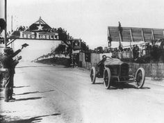 George Boillot bringing home his Peugeot to win the 1912 French Grand Prix at the Dieppe circuit