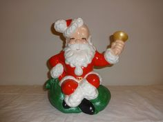 Hand painted ceramic Santa ringing bell by VintageyItems on Etsy