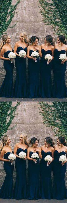 Elegant Cheap Sweet Heart Navy Mermaid Long Bridesmaid Dresses BD032 #dress #bridesmaid #fahsion #pgmdress